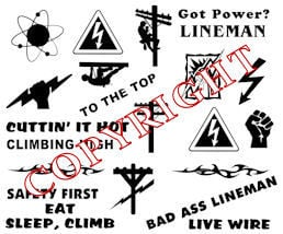 Lineman Hardhat Sticker Decals - A sheet of 22 pcs! For Linemen!