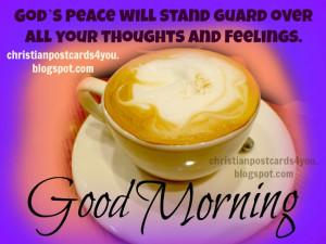 good morning god give you peace christian postcard