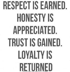 Respect...honesty...trust...loyalty