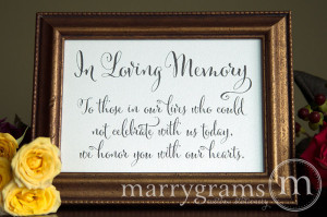 In Memory Of Quotes For Wedding In loving memory sign table