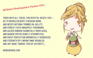... restful death I cry - William Shakespeare Poems #33 at WowSayings.com