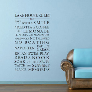Lake House or Cottage, Beach Rules vinyl wall decal art