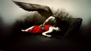 fantasy fallen angel gothic dark wings mood emotion sad sorrow death ...