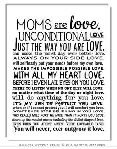 Moms & Mums Are Love Typographic Print. Sentimental Mother's Day or ...