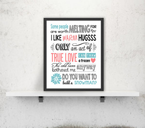 Disney Frozen Quote Art Print Printable poster Digital print ...