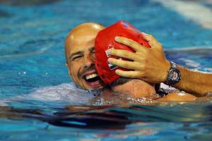Tibor Benedek Head coach Tibor Benedek of Hungary celebrates with