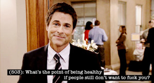 ... and optimistic Chris Traeger from the NBC show Parks and Recreation