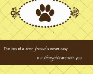 Pet Condolence Card Paw Print