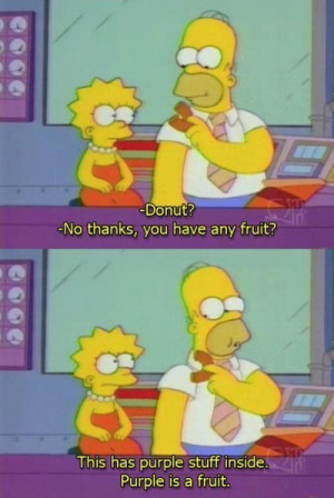 Donut? No thanks, you have any fruit ? This has purple stuff inside ...