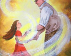grandpa, granddaughter, dance, yell ow, grandfather, grand daughter ...