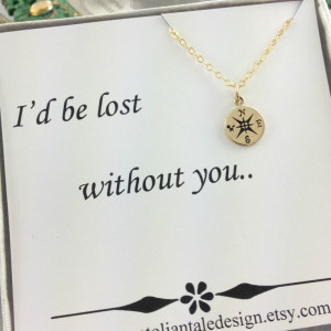 Compass Necklace, Travelers Necklace, Best Friend Gift, Gold Compass ...