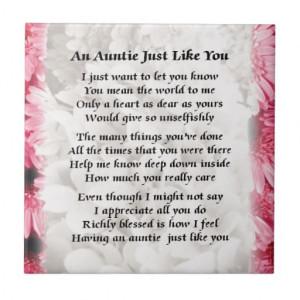Auntie poem - Pink Floral design Ceramic Tiles