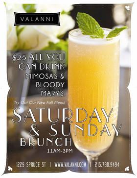 Main Menu Sunday Brunch Drinks