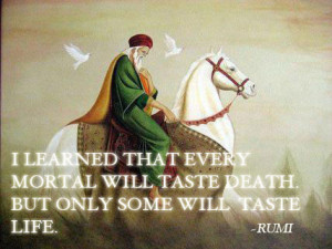 Quote by Rumi on every mortal tasting death but not everyone tasting ...