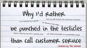 Why I'd rather be punched in the testicles than call customer service