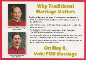 Carolina dioceses mail postcards supporting 'traditional marriage'