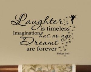 ... Dreams are Forever Tinkerbell Quote Nursery VInyl Wall Lettering Decal