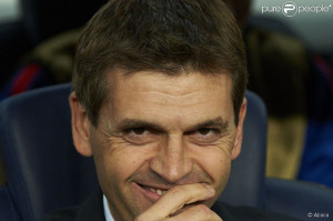 Tito Vilanova lors d'un match de Ligue des Champions du FC Barcelone ...