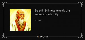 Be still. Stillness reveals the secrets of eternity - Laozi