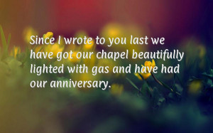 ... our chapel beautifully lighted with gas and have had our anniversary