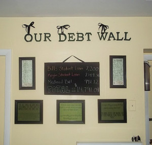 gallery wall with Dave Ramsey Quotes and chalkboard debt tracker