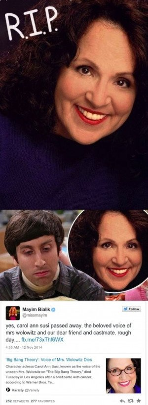 The Big Bang Theory's Carol Ann Susi Has Died From Cancer