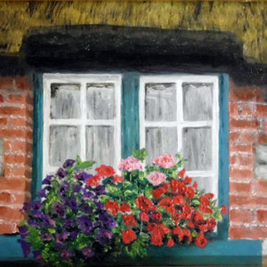 Irish window oil painting, OOAK oil on panel framed in a gorgeous