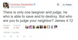 "Kourtney Kardashian Shares Bible Quote: ""Who Are You To Judge ..."