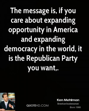The message is, if you care about expanding opportunity in America and ...