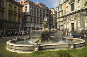 Naples fountain and street scene