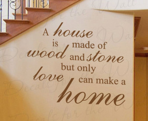Made Wood and Stone Home Family Love Wall Decal Adhesive Vinyl Quote ...