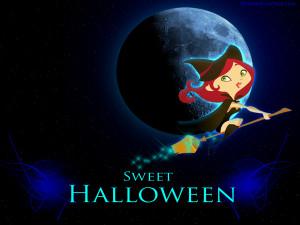 Halloween Cute Witch Wallpaper