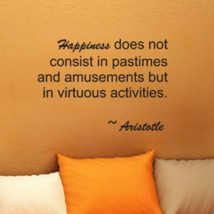 Aristotle Happiness wall quote vinyl wall art decal by kisvinyl, $17 ...