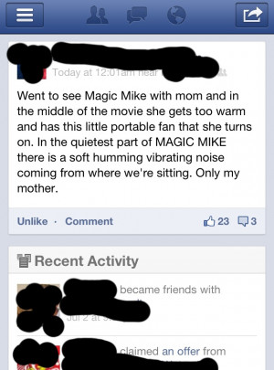 Things got a little awkward while watching Magic Mike