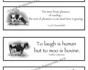 Printable Bookmarks, COWS With Quotes, Original Freehand Pencil ...