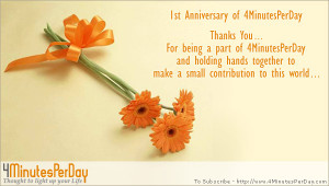 4MinutesPerDay Celebrating 1st Anniversary