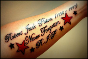 word tattoo on forearm in memory of someone with stars and r i p ...