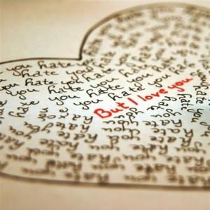 love you, handwritten, hate, hate but love, heart, hidden, i hate you ...