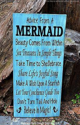 Beach Signs, Beach Decor, Mermaid Sign, Advice From A Mermaid Wooden ...