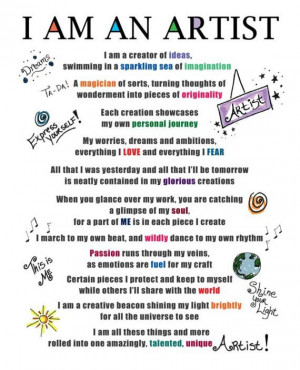 Am An Artist poem Mantra Creative Inspiration 8 x 10 Print DEDICATED ...