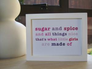 Sugar & Spice Nursery Rhyme Quote Pink - Baby Girls Room Wall Art ...
