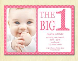 ... Printable Custom Invite - Pink Polka Dots - 1 year old - 1st Birthday