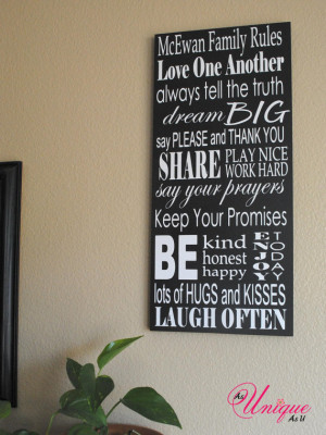 Family Rules Customized Sign $40 value