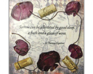 Encaustic Collage - Wine Quote -St. Thomas Aquinas - Collage with ...