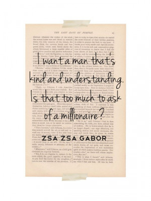 funny love quote dictionary print - Zsa Zsa Gabor Millionaire quote ...