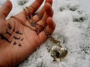 hand, heart, locket, love, quote, snow
