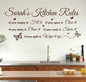 ... Personalised Kitchen Rules Quote Wall Art Sticker, Decal, Graphic K26