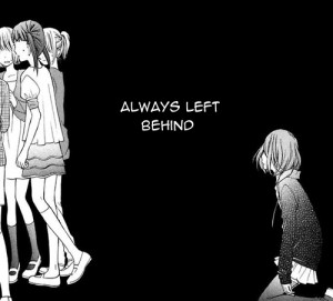 alone, anime girl, black and white, sad