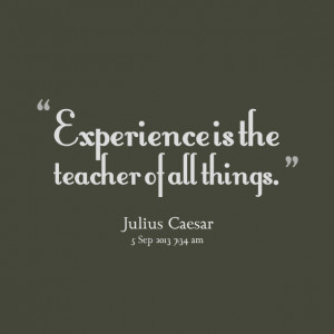 Quotes Picture: experience is the teacher of all things