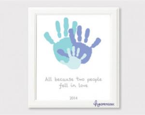 Because of Love Handprint Art | Gift Idea | Family Art | Decor ...